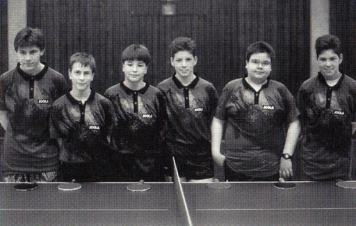1996 - 2. Jungenmannschaft von links nach rechts: Timo Böhm, Andreas Hack, Florian Kölmel, Thomas Frank, Matthias Scholz, Andreas Frank