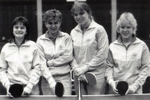 Meister der Bezirksklasse-Damen 1990 v.l.n.r.: Irmgard Knayer, Mine Knayer, Heidi Kren und Sandra Steska