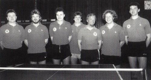 Die erfolgreiche Herrenmannschaft der Spielrunde 1992/93 v.l.n.r.: Karl Hack, Manfred Herberth, Jürgen Feger, Hans-Peter Bernauer, Herbert Fenske, Thomas Neuhäusler und Bernd Maier